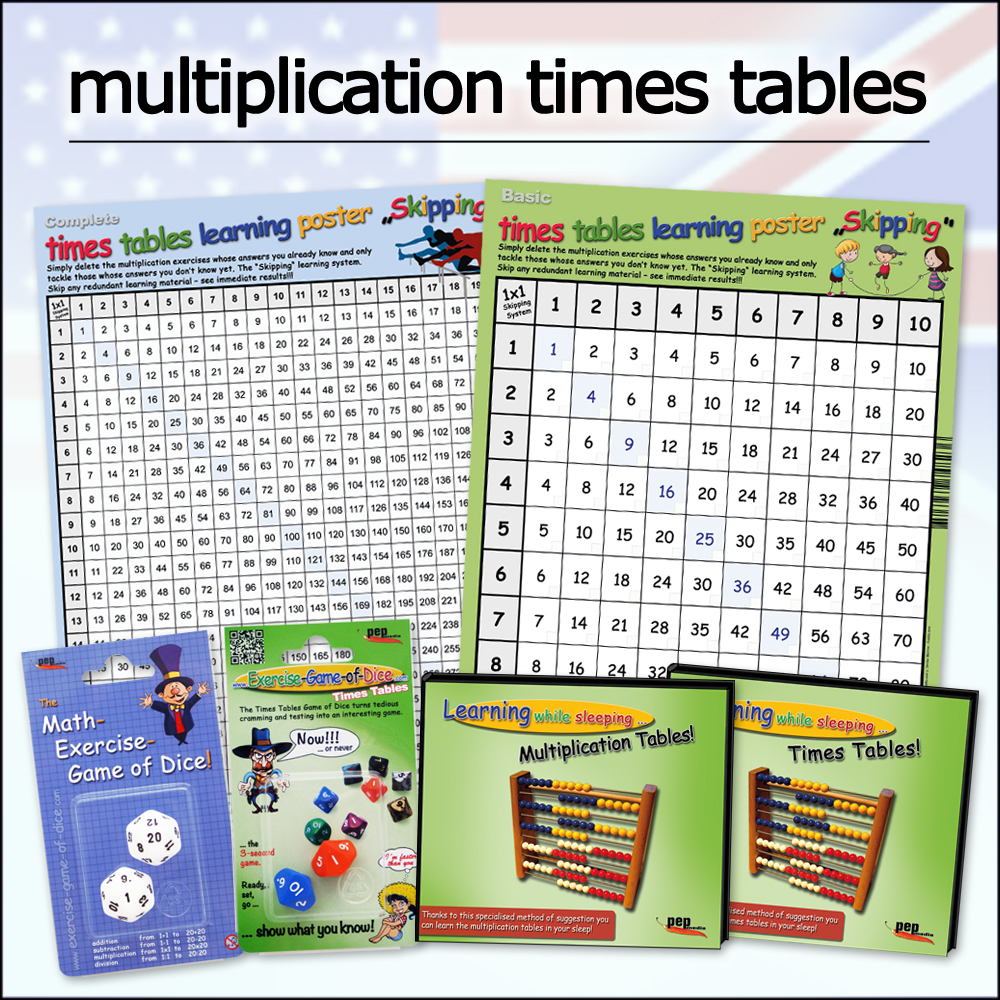 Multiplication times tables - learning while sleeping - Dice - Poster